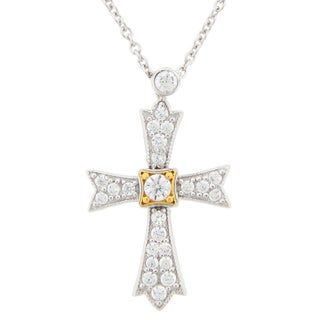 Meredith Leigh Sterling Silver Cubic Zirconia Cross Pendant