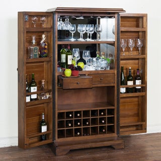 Sunny Designs Savannah Charcoal Walnut Bar Armoire with Wine Storage