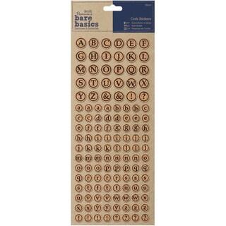Papermania Bare Basics Cork Stickers 126/Pkg-Alphabet Circles