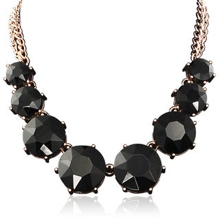 Adoriana Black Crystal Circle Strand Necklace