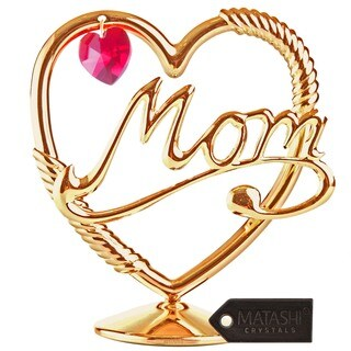 Beautifully Crafted 'Mom in a Heart' Gift Dipped in 24k Gold Plating with Genuine Red Matashi Crystals