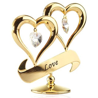 24k Gold Plated 'Love' Double Heart Valentine Gift Ornament Made with Genuine Matashi Crystals