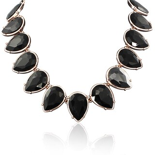 Adoriana Black Crystal Pear Strand Necklace