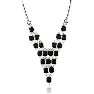 Adoriana Black Crystal Pyramid Necklace