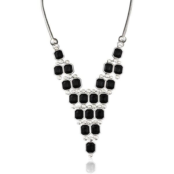 Passiana Black Crystal Pyramid Necklace