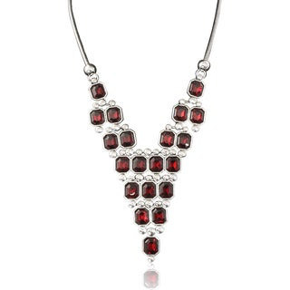 Adoriana Red Crystal Pyramid Neckalce