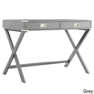 Kenton X Base Wood Accent Campaign Writing Desk iNSPIRE Q Modern (Option: Grey)