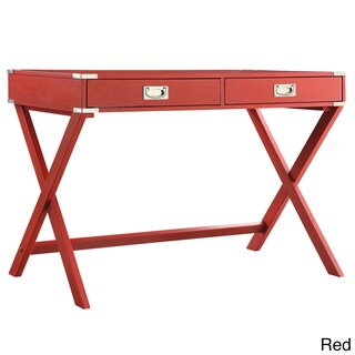 Kenton X Base Wood Accent Campaign Writing Desk iNSPIRE Q Modern (Option: Red)