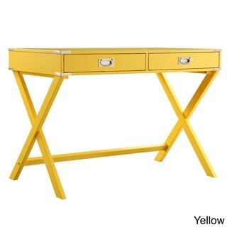 Kenton X Base Wood Accent Campaign Writing Desk iNSPIRE Q Modern (Option: Yellow)