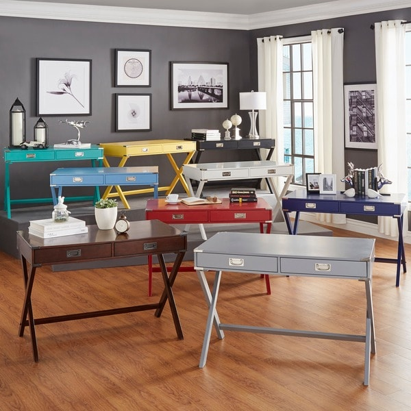 Kenton X Base Wood Accent Campaign Writing Desk By Inspire