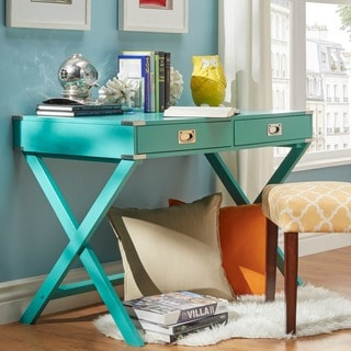 Kenton X Base Wood Accent Campaign Writing Desk by INSPIRE Q