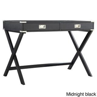 Kenton X Base Wood Accent Campaign Writing Desk iNSPIRE Q Modern (Option: Charcoal Black)