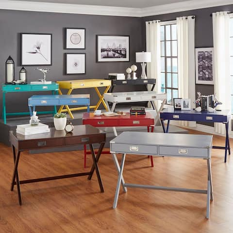 Kenton X Base Wood Accent Campaign Writing Desk by iNSPIRE Q Modern
