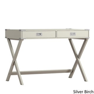 Kenton X Base Wood Accent Campaign Writing Desk iNSPIRE Q Modern (Option: Silver Birch)