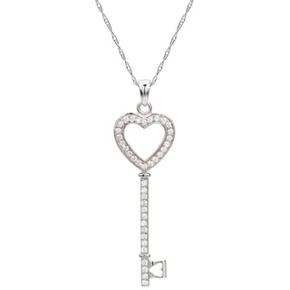 DaVonna Sterling Silver Cubic Zirconia 18-inches Key and Heart Necklace