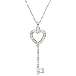 """DaVonna Sterling Silver Heart Shape Key Lock with 1.4mm 39 pcs CZ Pendant Chain Necklace, 18"""""""