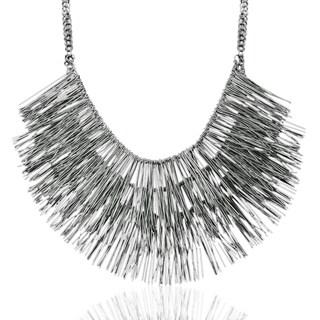 Adoriana Gunmetal Over Brass Fringe Necklace