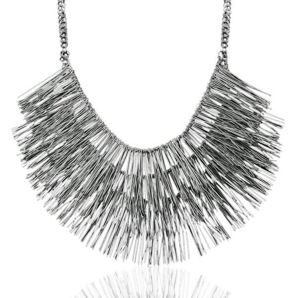 Adoriana Gunmetal Over Brass Fringe Necklace