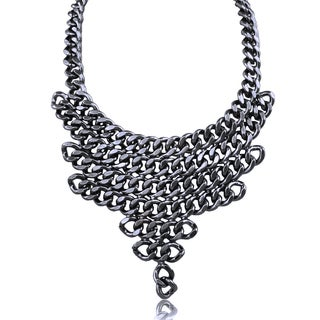 Adoriana Gunmetal V Shaped Chain Bib