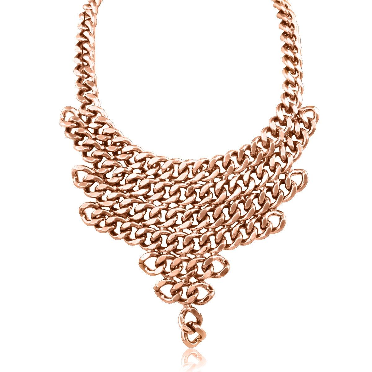 Passiana Rose Gold Over Brass V-shaped Chain Bib (Rose V ...