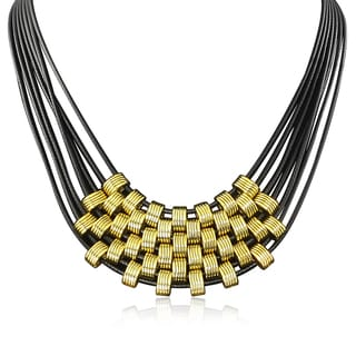 Adoriana Black and Gold Leather Necklace
