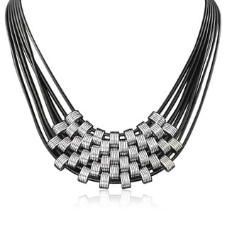 Adoriana Black and Siver Leather Necklace