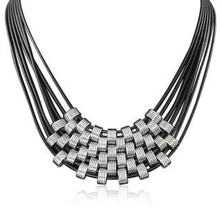 Passiana Black and Siver Leather Necklace https://ak1.ostkcdn.com/images/products/10035838/P17181345.jpg?impolicy=medium