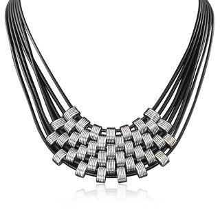 Passiana Black and Silver Leather Necklace