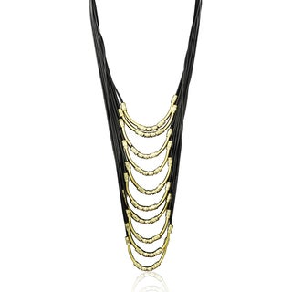 Passiana Long Black and Gold Leather Necklace
