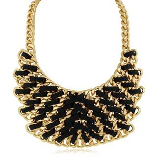 Adoriana Leather and Golden Chain Bib