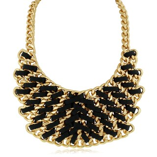 Adoriana Leather and Golden Chain Bib