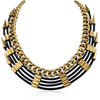 Adoriana Quadruple Strand Leather Spike Bib