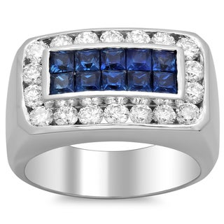 14k White Gold Men's 1 3/4 ct TDW Diamond and 2 1/10 ct Sapphire Ring (F-G, SI1-SI2)