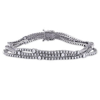 Miadora Signature Collection 18k White Gold 4 4/5ct TDW Diamond Bracelet (G-H, SI1-SI2)