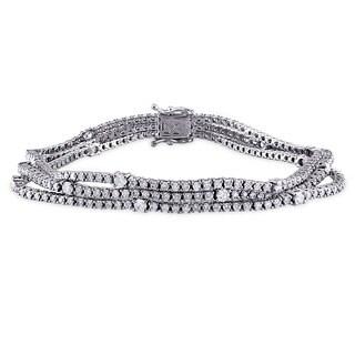 Miadora Signature Collection 18k White Gold 4 4/5ct TDW Diamond Bracelet