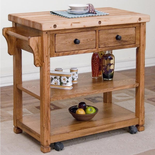 Sunny Designs Sedona Butcher Block Kitchen Island Cart Free Shipping Today 10035905