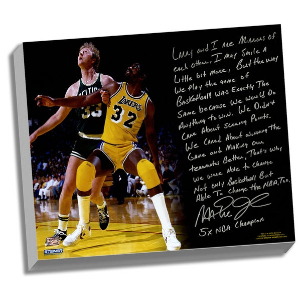 Magic Johnson Facsimile 'My Friend Larry Bird' Stretched 22x26 Story Canvas