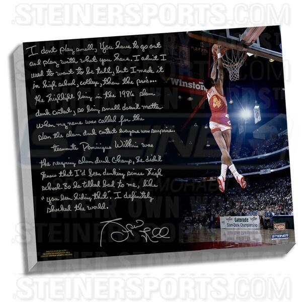 Spud Webb Facsimile ' Slam Dunk Contest' Stretched 22x26 Story Canvas