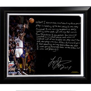 Larry Johnson Facsimile '4 Point Play' Story Stretched Framed 22x26 Story Canvas