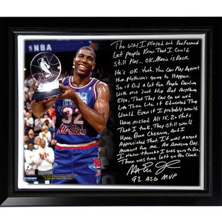 Magic Johnson Facsimile 'First Game Back' Story Stretched Framed 22x26 Story Canvas
