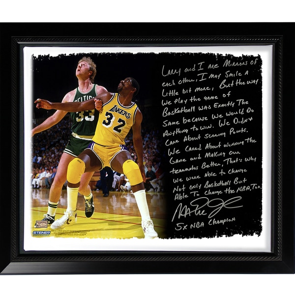 Magic Johnson Facsimile 'My Friend Larry Bird' Story Stretched Framed 22x26 Story Canvas