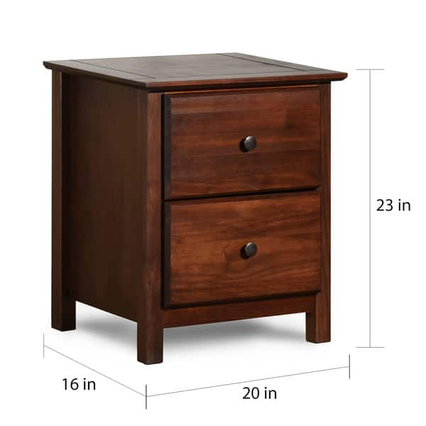Grain Wood Furniture Shaker 2 Drawer Cherry Solid Wood Nightstand Overstock 10035941