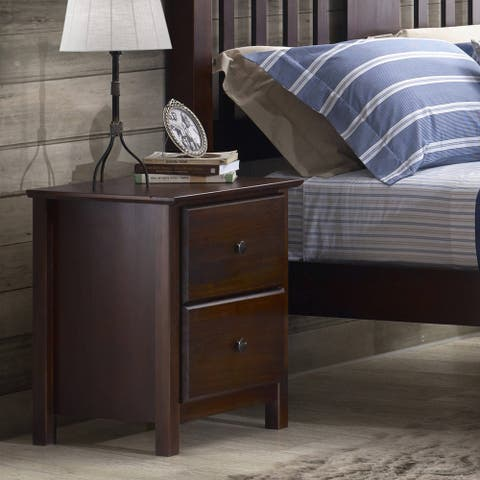 Grain Wood Furniture Shaker 2-drawer Cherry Solid Wood Nightstand