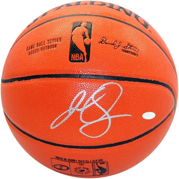 J.R. Smith Signed I/O NBA Orange Basketball (Signed in Silver)