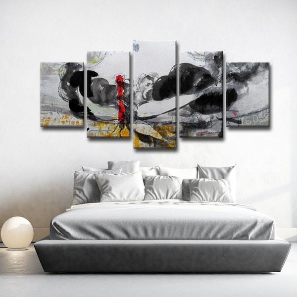bd6bc5be94ebd Shop Ready2HangArt 'Inkd XLI' 5-piece Canvas Art Set - Free Shipping ...
