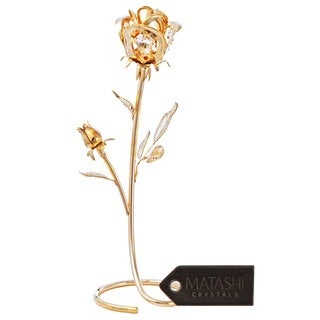 Rose Table Top Ornament Dipped in 24k Gold Plating with Genuine Matashi Crystals CT3185