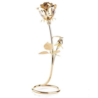 Beautifully Crafted Rose Table Top Ornament Dipped in 24k Gold Plating with Genuine Matashi Crystals