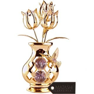 Beautifully Crafted Flowers in 24k Gold Plated Vase with Matashi Crystals