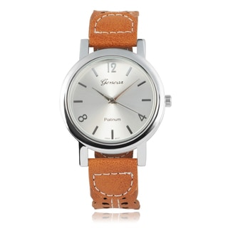 Geneva Platinum Round Face Decortive Faux Leather Band Tang Buckle Watch