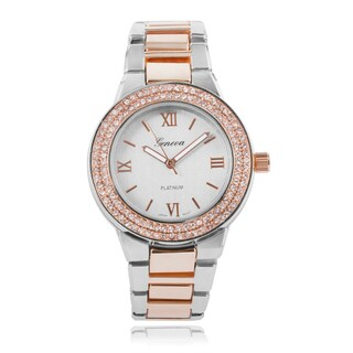Geneva Platinum Round Face Link Band Watch